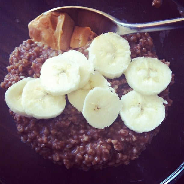 Not just oatmeal, but chocolate oatmeal with bananas and peanut butter!