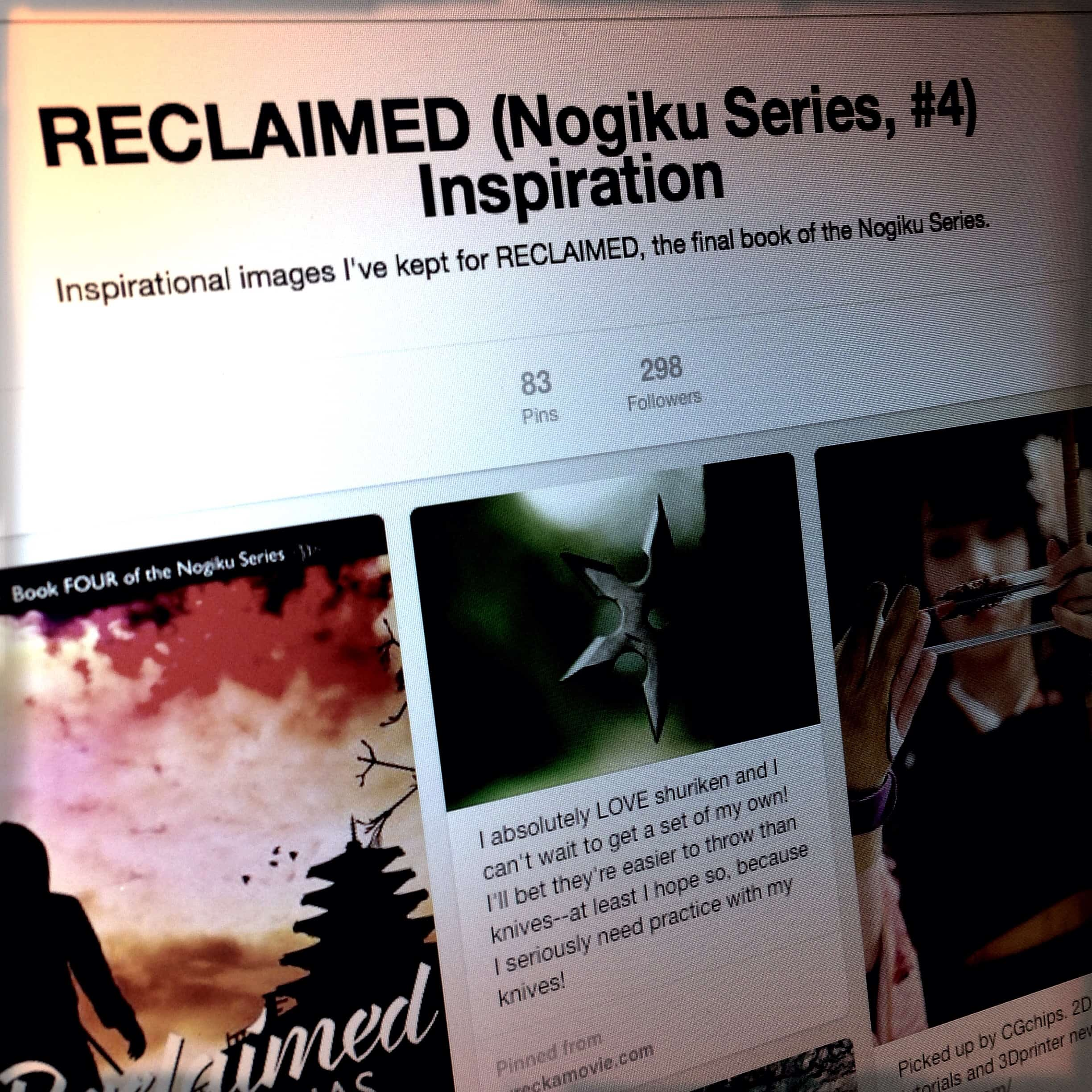 Check out the RECLAIMED Pinterest board and all the images and videos that inspired the last book of the series.