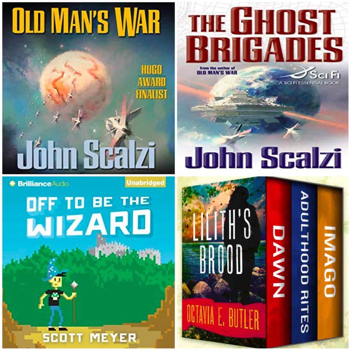 Two books by John Scalzi, Off To Be The Wizard, and Octavia Butler's Xenogenesis Trilogy!