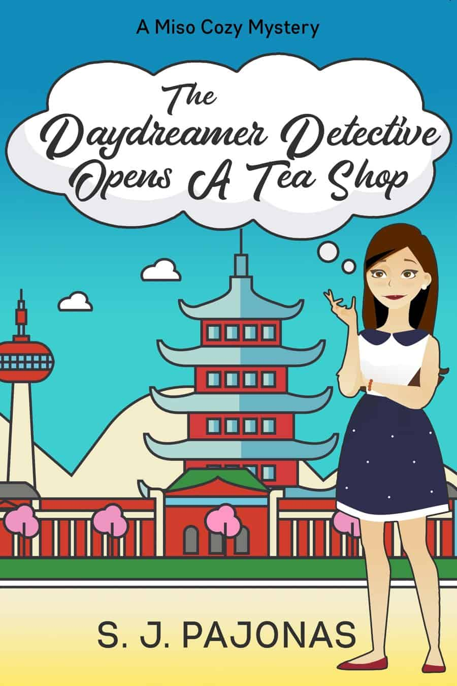 Cover, blurb, and information on the third book of the Miso Cozy Mysteries series, THE DAYDREAMER DETECTIVE OPENS A TEA SHOP.