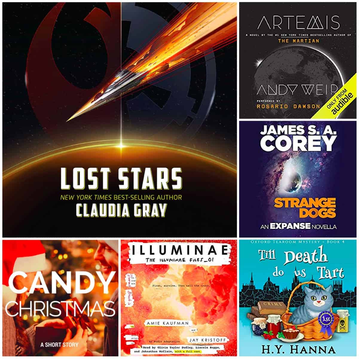 In this Book Chat, CANDY CHRISTMAS by Tracy Krimmer, LOST STARS (Star Wars) by Claudia Gray and four audiobooks including ARTEMIS by Andy Weir!