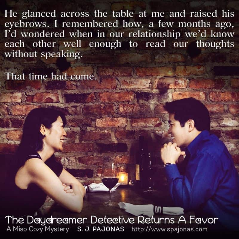 It's the last #TeaserTuesday for THE DAYDREAMER DETECTIVE RETURNS A FAVOR. When Mei and Yasahiro reach synchronicity, it's sweet, sweet victory.