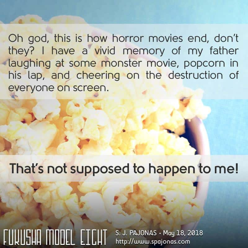 It's the last #TeaserTuesday for FUKUSHA MODEL EIGHT! In which I make fun of my own genre...