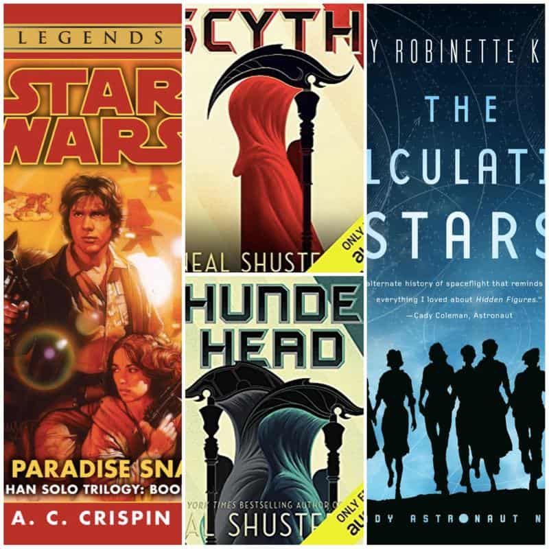 In this Book Chat, ... well, look at that! We have a lot of sci-fi. Why am I not surprised? STAR WARS: PARADISE SNARE by A. C. Crispin, THE CALCULATING STARS by Mary Robinette Kowal, and SCYTHE and THUNDERHEAD by Neal Shusterman.