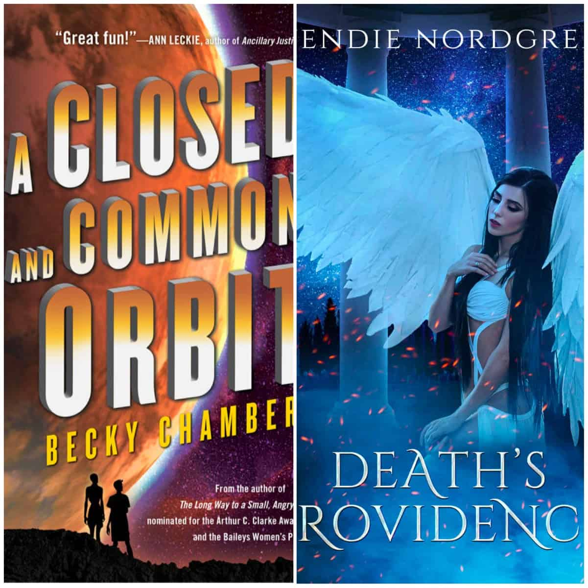 In this Book Chat, A CLOSED AND COMMON ORBIT by Becky Chambers and DEATH'S PROVIDENCE by Wendie Nordgren.