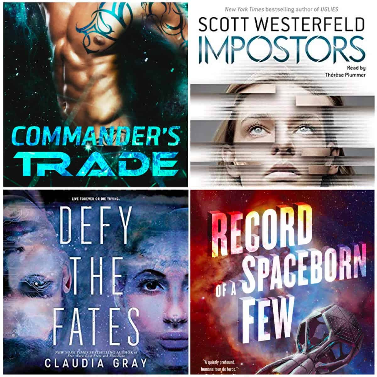 Lots of great scifi books this time from Diana Logan, Becky Chambers, Scott Westerfeld, and Claudia Gray.