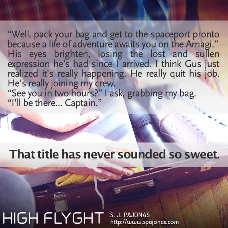 It's the first Teaser Tuesday for HIGH FLYGHT, the third book of the Flyght Series! Vivian adds a new crew member to the Amagi...