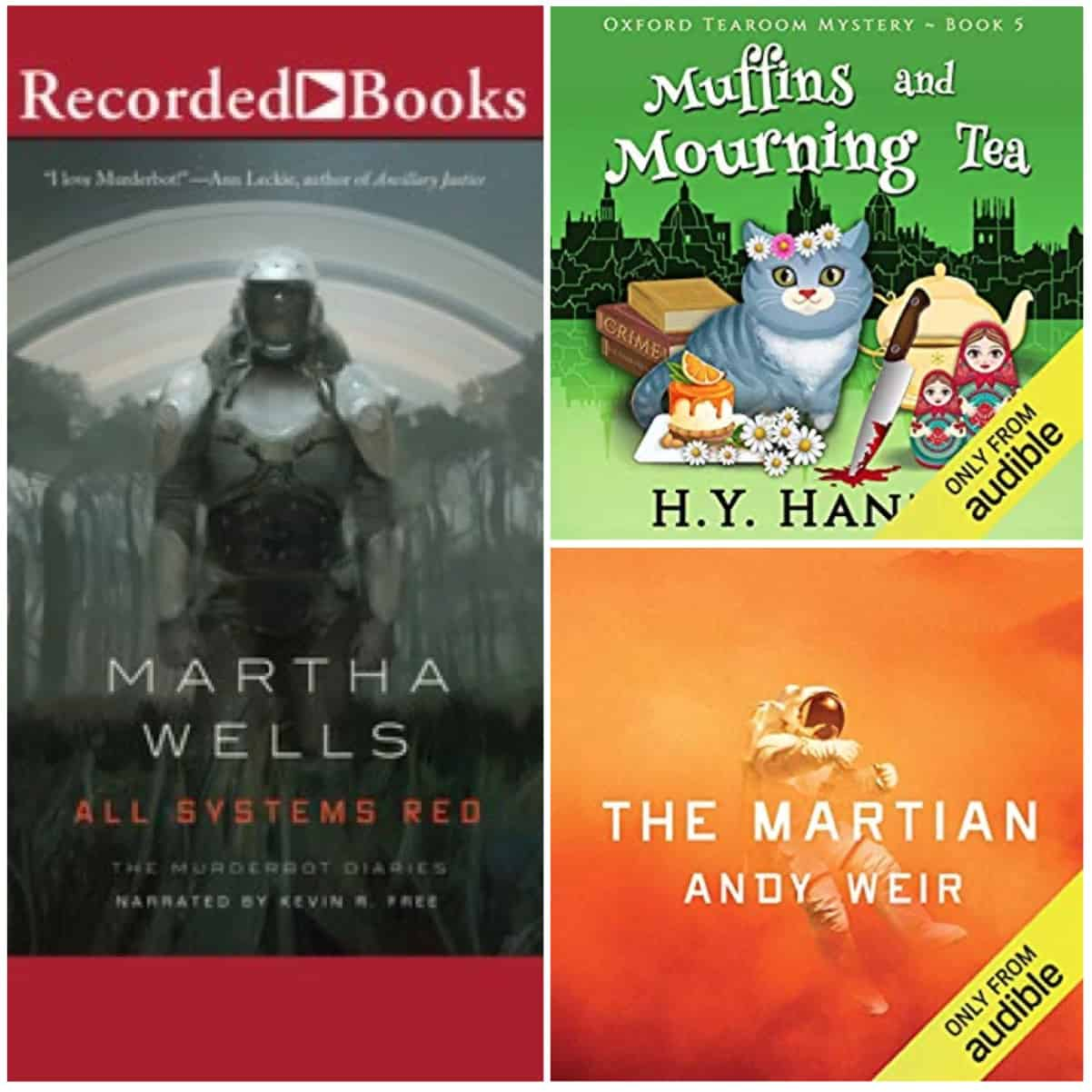 In this Book Chat, a few audiobooks by H. Y. Hanna, Andy Weir, and Martha Wells.