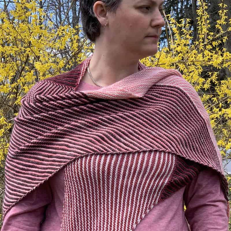 I finished a knit I've been working on for 18 months! Check out my Corners, Edges, Stripes shawl.